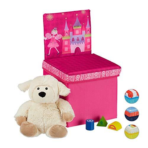 Relaxdays kinderkruk met opbergruimte, prinsesmotief, met rugleuning, 2-in-1 vouwkruk, HxBxD: 43 x 25 x 26 cm, roze, polyester, MDF-platen, karton