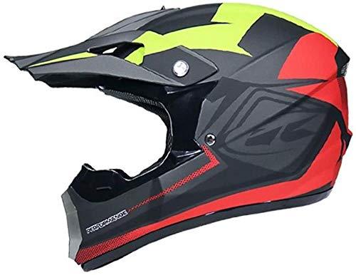 OMCCXO Motorrad Motocross Helme & Handschuhe & Brille D. O. T Standard Kinder Quad Bike ATV Go Karting Helm (Schwarz Rot M (57-58CM))-Noir_rouge_L(59-60CM)_