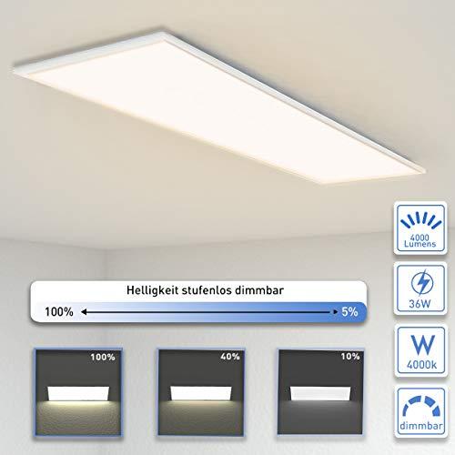 OUBO Deckenleuchte LED Panel dimmbar 120x30cm Neutralweiß / 36W / 4000lm / 4000K Flurlampe Decke Wandleuchte Schlafzimmer Kinderzimmer