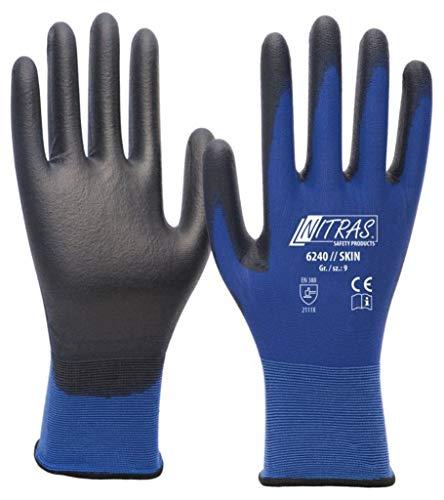 Nitras 6240 Skin Nylon-Montagehandschuhe - Ohne Latex - Blau-Schwarz - Gr S