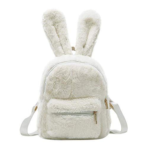 Mini zaino da donna in pelliccia sintetica con orecchie di coniglio, borsa a tracolla in peluche