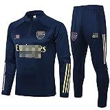 2021アーセナルフットボールトレーニングスーツ、ハイネックと長袖のセータースーツ、快適、カジュアル、速乾性、柔らかいスウェットシャツ,ブルー,S