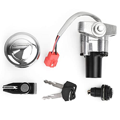 Topteng Motorcycle Ignition Switch, Replacement Ignition Starter Switch Key Kit with Fuel Gas Cap for Yamaha XVS 125 250 400/C 650 1100 Drag Star/V-Star
