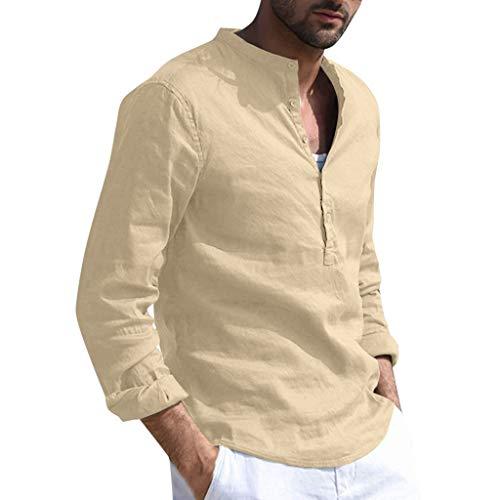 Yowablo Herren Hemd Leinenhemd Langarm Freizeithemd Sommerhemd Regular Fit Stehkragen Einfarbig Hemd Langarm Button Retro (XL,Khaki)