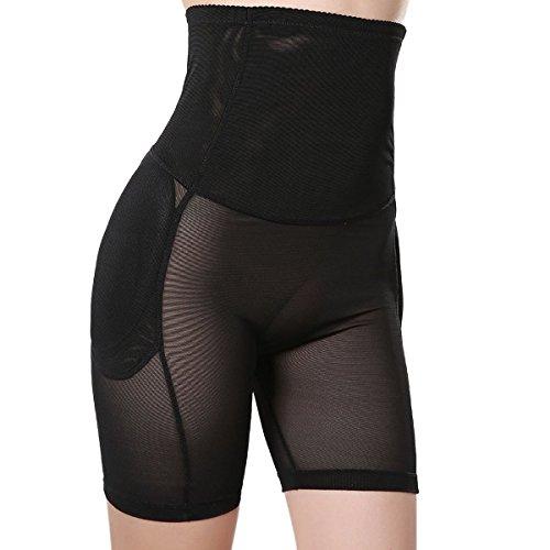 Shymay Women's Shapewear Butt Lifter Seamless High Waist Padded Panty Body Shaper, Black, Large