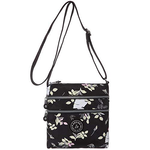 Lightweight Medium Multi-Pocket Crossbody Purse Bags for Women Travel Shoulder Bag (Black flower)