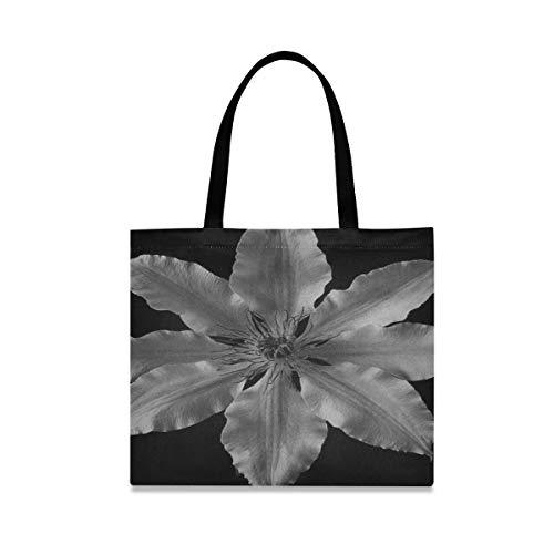 Große quadratische Kapazität faltbare Einkaufstasche Clematis-Blumen-Schwarzweiss-Betriebsblumenblatt-Mens-Einkaufstasche 19,7 x 16.9in Druck für die Mädchen-Damen, die tägliche Arbeit kaufen
