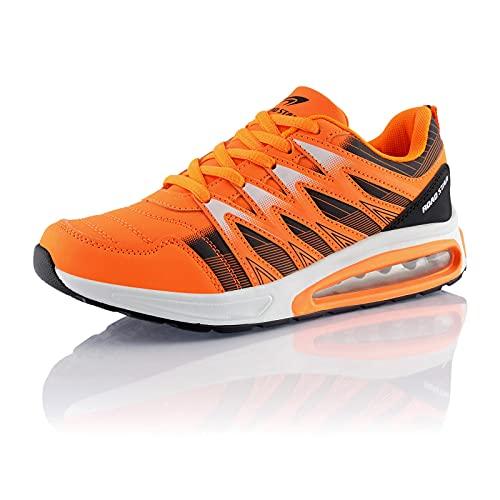 Fusskleidung® Damen Herren Sportschuhe Dämpfung Sneaker leichte Laufschuhe Orange Schwarz EU 39