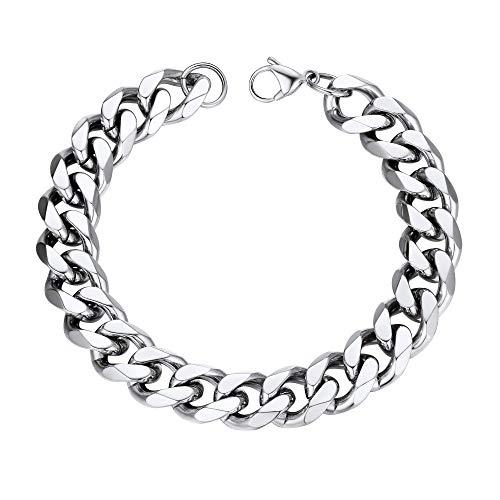 PROSTEEL Mens Stainless Steel Round Curb Bracelet Chunky Punk Rock Chain Bracelet Cuban