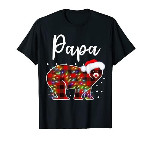 Red Plaid Papa Bear Matching Buffalo Pajama Funny T-Shirt
