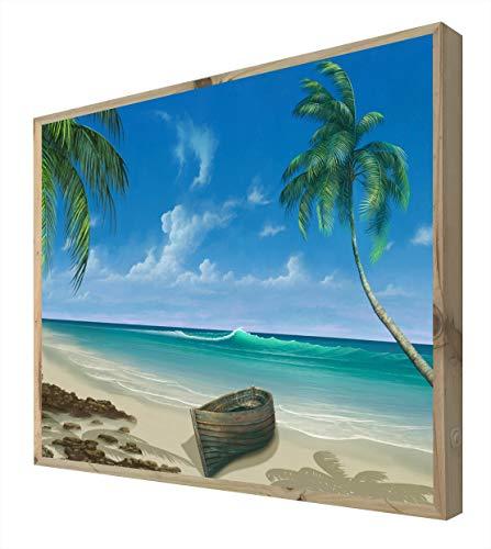 CCRETROILUMINADOS Playa con Barca Quadro con Cornice in Legno Illuminato con luci LED, Metacrilato, Multicolore, 60 x 80
