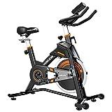 YOSUDA (ヨスダ) 屋内 サイクリング 自転車 固定式 - エクササイズバイク 自宅ジム用 快適なシートクッション 静音ベルトドライブ iPadホルダー付き ブラック