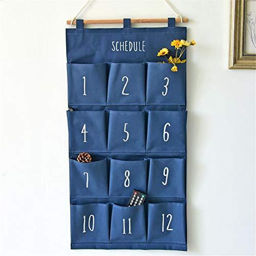 HHORD 2ST Leinen/Baumwollgewebe 12 Taschen Wand-Tür-Schrank Hängende Speicher-Beutel-Organisator, Weiße Tupfen/Marine-Streifen,A