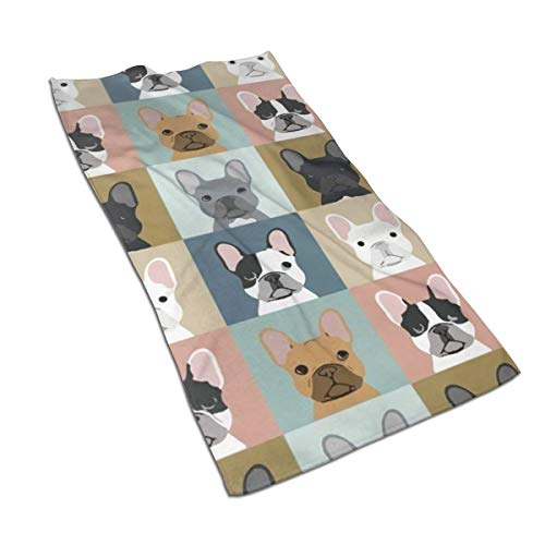 Asdfaf French Bulldog Pattern Kitchen Towels - Dish Cloth - Machine Washable Cotton Kitchen Dishcloths,Dish Towel & Tea Towels for Drying,Cleaning,Cooking,Baking