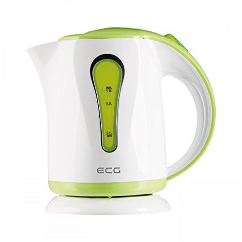 ECG green RK 1022 Elektrischer Wasserkocher, Beleuchtete Wasserstandanzeige, Hochwertiges Kunststoffdesign-BPA FREI, 1,0 l Inhalt, 900-1100 W, Plastik, 1 Liter, Grün-weiß