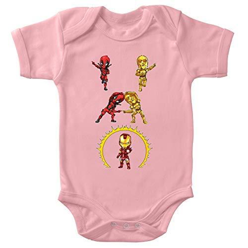 Body bébé Manches Courtes Filles Rose Parodie Star Wars - Iron Man - Deadpool, C-3PO et Iron Man - Cyber Fusion !! Yaaahaaa ! (Body bébé de qualité supérieure de Taille 12 Mois - imprimé en France)