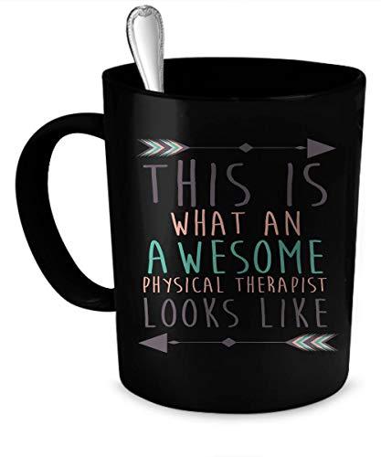 N\A Regalo de Terapeuta, Taza de cerámica Negra, Taza de café, Taza de fisioterapeuta, Regalo de Esposo, Taza Personalizada, Regalo Personalizado