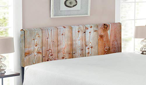 Lunarable Rustic Headboard, Monochrome Wood Design Minimalist Rough Rustic Tiled Logs Row Plank Surface Texture Image, Upholstered Decorative Metal Bed Headboard with Memory Foam, Queen Size, Cream