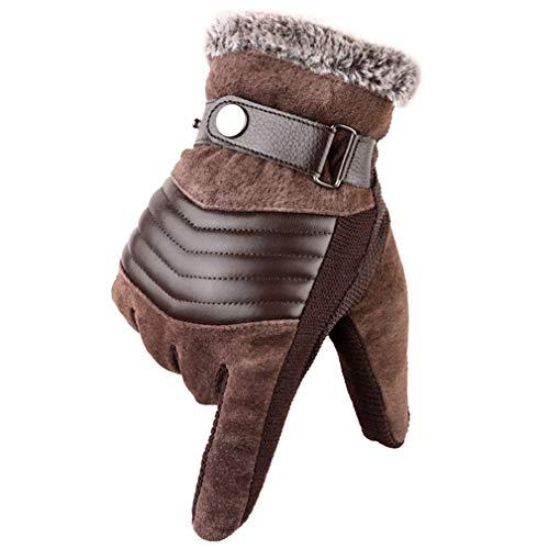 Guanti da uomo in vera pelle di maiale Russia guanti invernali caldi spessi guida sci guanti guantes Luvas Pelliccia marrone. Taglia unica