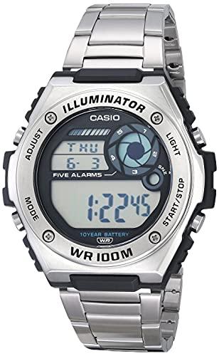 Casio Reloj de cuarzo digital resistente para hombre de 10 años, correa de acero inoxidable, plateado, 25,7 pulgadas (modelo: MWD-100HD-1AVCF)