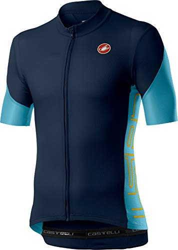 Castelli Cycling Entrata V Jersey for Road and Gravel Biking l Cycling - Savile Blue - Large