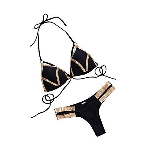 CYYMY Damen Sexy Bikini Halter Bandage Gold Stamping Push Up Gepolsterter Zweiteiliger Badeanzug,Black,M