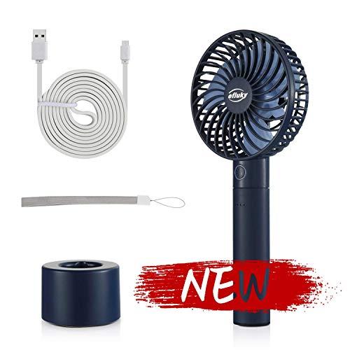 efluky Ventilador de mano portátil personal mini ventilador de mesa USB con banco de energía extraíble de 2600 mAh para oficina, aire libre, viajes domésticos, 5 velocidades ajustables (azul)