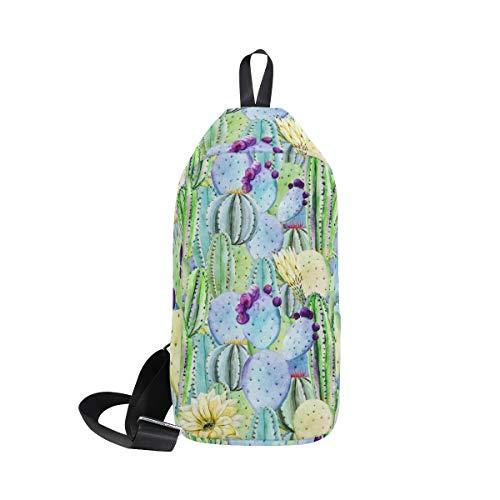 Ahomy Sling Crossbody Rucksack für Herren und Damen, Aquarell, Tropische Kakteen Peyote Messenger-Tasche, Reisetasche, Schultertasche