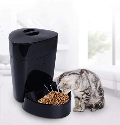 XXL Dispensador de Comida automático con Temporizador - Comedero automático de 4L para- para Perros y Gatos,Black