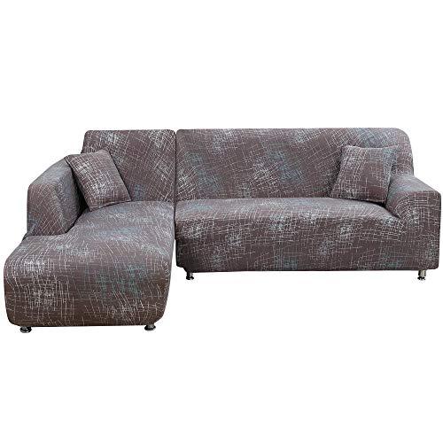 OEAK Sofa Überwürfe Sofabezug Stretch Antirutsch Couchbezug Sesselbezug Sofa Abdeckung 1-4 Sitzer Sofahusse für L-Form Schnittcouch mit Blumen Drucken