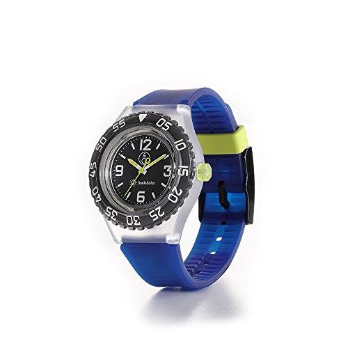 Q&Q SmileSolar 20Bar Armbanduhr mit schwarzem Zifferblatt und blauem Armband RP16J007Y