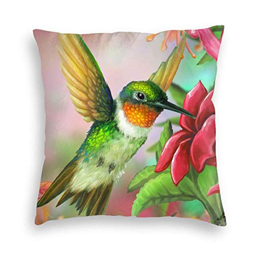 Ahdyr Flying Lovely Hummingbird Green Velvet Soft Square Throw Pillow Covers Home Decor Decorations Cushion Case for Indoor Sofa Bedroom Car 18 X 18 Inch