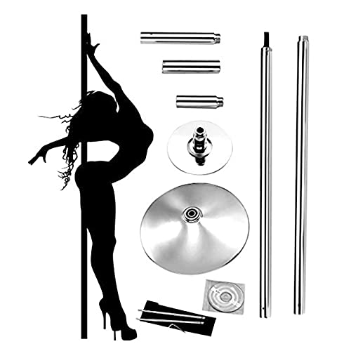 zmtzl Dancing Pole,Pole Dancing Pole 45mm Spinning & Static,for Lap Dance Cold Rolled Steel Capacity 150kg Portable Fitness Exercise Stripper Professional Pole Dancing Kit