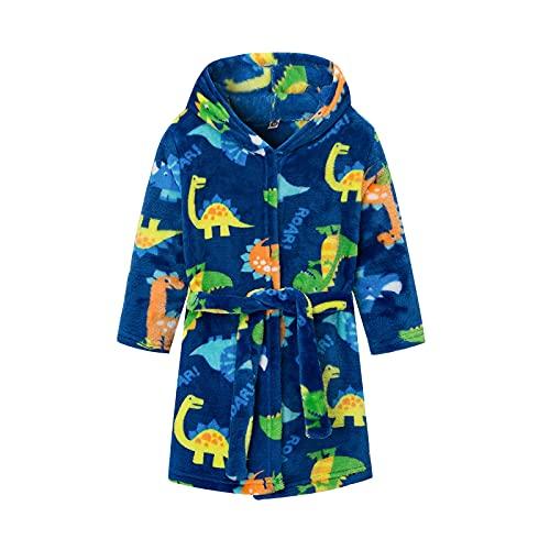 BemeyourBBs - Accappatoi per bambini, a maniche lunghe, con cappuccio a dinosauro, accappatoi in flanella, pigiama per bambine, Blu, 7 anni