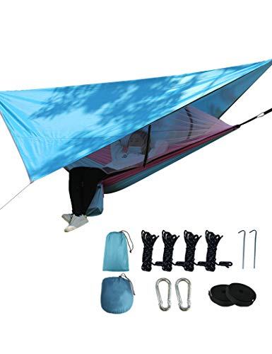 gfdfrg Camping Hammock for 2 Person with Mosquito Net and Tarp Rain Cover for Backpacking, Travel, Beach, Yard (260 x 140cm)