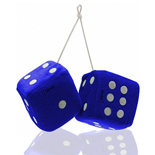 Zento Deals 3' Blue Fuzzy-Soft Dice with White Dots - Pair