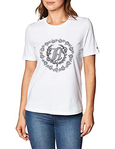 Tommy Hilfiger Damen Regular Open-nk Th Floral Tee Hemd, White, M