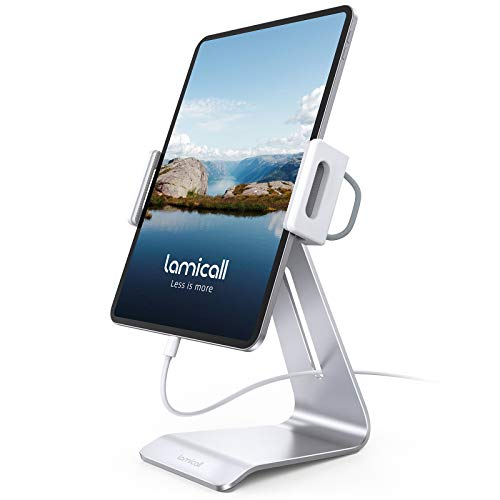 """Tablet Stand, Adjustable Tablet Holder Dock - Lamicall 360 Degree Rotating Tablet Mount, Desktop Tablet Dock, Compatible with iPad Pro 11 / 12.9, Mini, Air, Tabs, Kindle and 4.7"""" - 13"""" Tablet - Silver"""