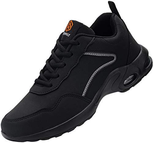 DYKHMILY Zapatillas de Seguridad Mujer Ligero Zapatos de Trabajo con Punta de Acero Comodo Respirable Reflectante Calzado de Seguridad(Negro,36EU