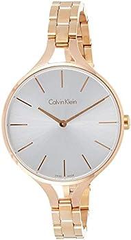 Calvin Klein Graphic Silver Dial Ladies Bangle Watch (K7E23146)