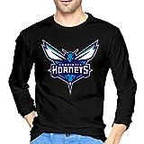 Charlotte Basketball Hornet Men's Long Sleeve T-Shirt Retro Cotton Long Sleeve T-Shirt Black