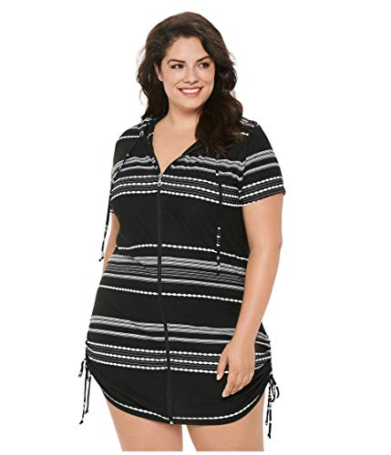 Dotti Plus Size Stripe Zip Front Hoodie Dress Cover-Up Black/White 2X