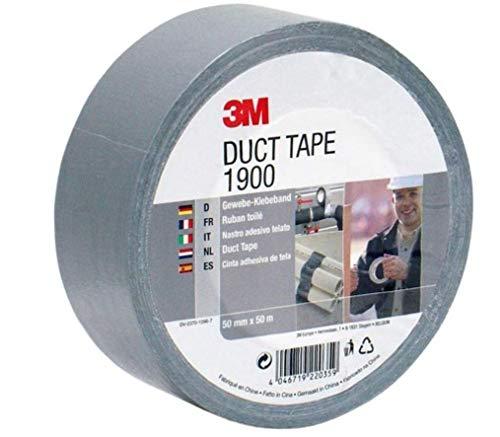 3M Gewebeklebeband 1900 in Silber-Grau 50mm x 50 m – Duct Tape handreißbar & wasserfest für universelle Anwendungen wie Markieren, Abdichten, Bündeln – 1-er Pack