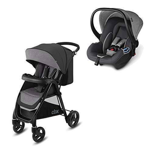 cbx 2-in-1 Reisesystem, Kinderwagen Misu TS + Babyschale Shima, Inkl. Regenverdeck und Adapter für Babyschale, Ab Geburt, Comfy Grey