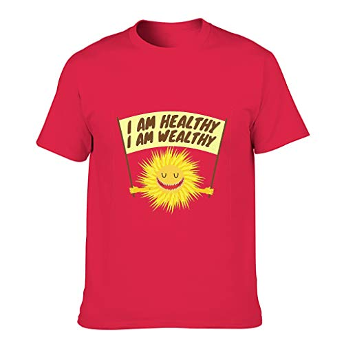 STELULI Camiseta de algodón para hombre, diseño con texto en inglés 'I am Healthy I am Wealthy Cool