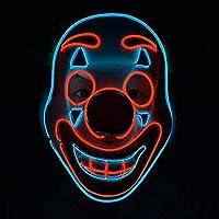 Rebuku ハロウィーン LED ピエロマスク ハロウィーン クリスマス ピエロマスク パーティークラブ 誕生日 ムード(A)