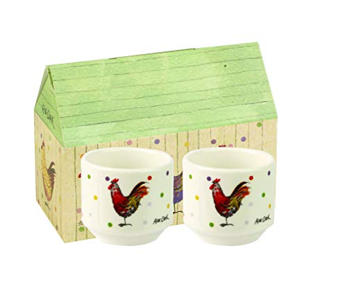 Alex Clark Stacking Egg Cups Rooster-Hueveras apilables, cerámica, Multicolor, 5 x 5 x 4.4 cm