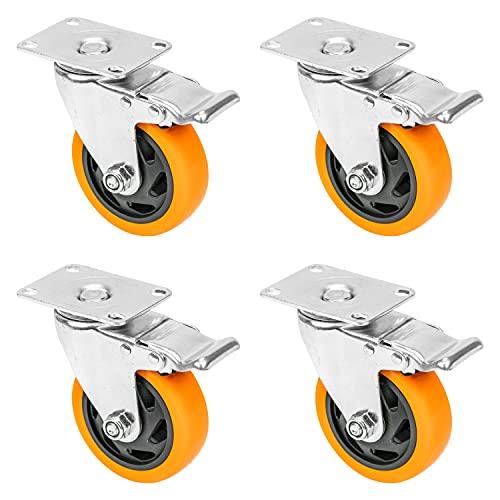 HMF 6710 - Juego de 4 ruedas con freno de poliuretano (100 mm, hasta 600 kg), color naranja