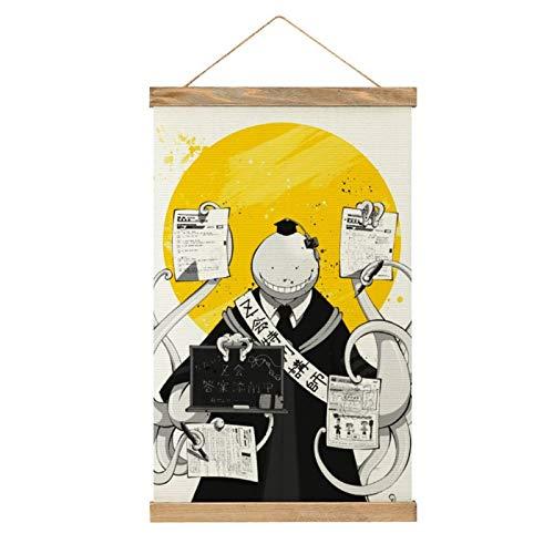 WPQL Lienzo de alta calidad para colgar una imagen, anime Assassination Classroom Koro-sensei en blanco y negro, moderno lienzo mural, póster mural, fácil de instalar - 33.1 x 50.4 cm