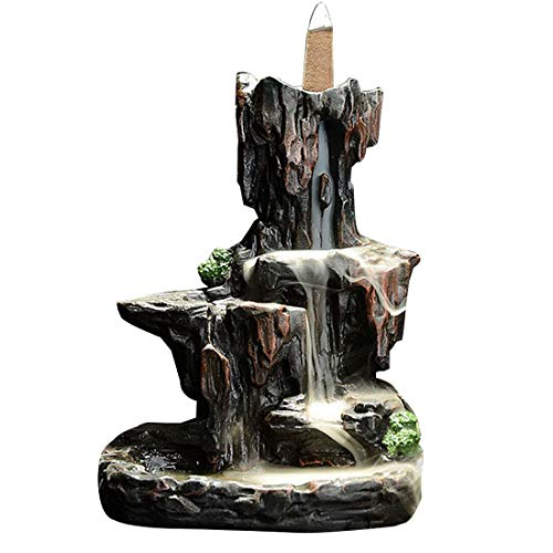 LEAFIS Waterfall Monk Backflow Incense Burner Mountain Tower Incense Holders for Home Office Yoga Aromatcherapy Ornamen (with 20 Cones)